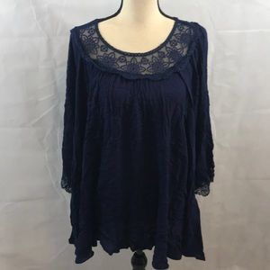NWT Women's blouse with lace neckline and sleeves